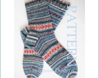 Multi-size Sock Knitting Stitch Guide PDF