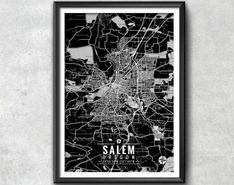 SALEM Oregon Map with Coordinates, Salem Wall Art, Salem Map, Map Art, Map Print, Salem Print, Salem Art, Salem Gift, Map, Salem Map Art,Map