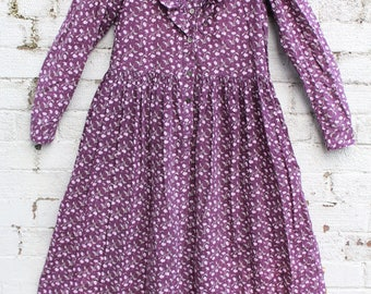 Vintage Laura Ashley Purple floral paisley cotton hippy 70s smock gypsy midi dress S