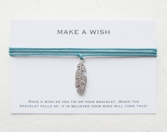 Make a wish bracelet, wish bracelet, feather bracelet, W36
