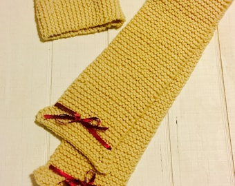 Child's Knitted Scarf and Headband