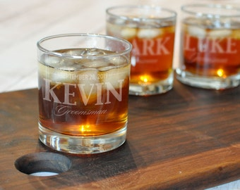 Personalized Whiskey Glass - One Glass - Custom Groomsman Glass - Etched Scotch Glass - Old Fashioned Glass - Engraved Rocks Glass