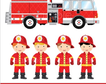 Digital Clipart - Little Firefighters clipart, Firetruck Clipart, Instant Download, only FOR PERSONAL USE, printable