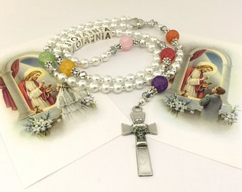 Personalized First Communion Rosary. First Communion White Rosary. Catholic Rosary for First Communion. Catholic Gift. Religious Gift. #R76