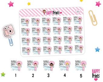 Bubble Bath Planner Stickers, Bathtub stickers, Bath Stickers, Kawaii Planner Stickers.