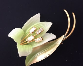 RESERVED Vintage Brooch Pin 1940's Pale Green Celluloid Lily with 4 Diamante Center New Old Stock