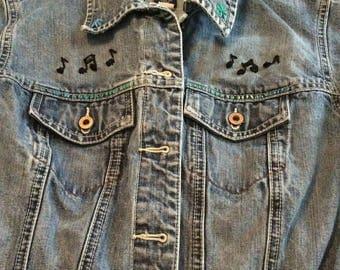 Vintage Guitar Girl Denim Jacket Boho Embroidery