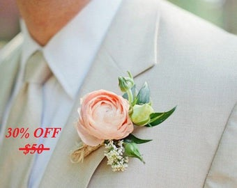 peony flower,bridal accessories,wedding boutonniere