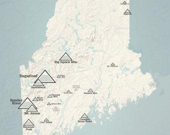 Maine Ski Resorts Map 18x24 Poster