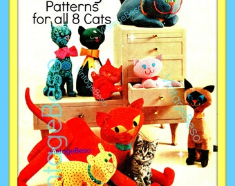 INSTANT DOWNlOAD - PdF Pattern - Cat SEWING PATTERNs 1960s Cats Sewing Pattern in PDF 8 Stuffed Toy Cats Kitten Sew Pattern VintageBeso