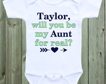 Will you be my Aunt Marriage Proposal Baby Onesie Custom Onesie Wedding Proposal Ideas Engagement Baby Shirt Aunt Onesie Aunt Shirt New Aunt