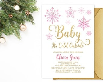 Pink Gold Baby It's Cold Outside Baby Shower Invitation, Snowflakes Girl Baby Shower Invitation, Pink Gold Winter Baby Shower Invitation