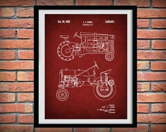 Patent 1953 Farmall H Tractor - Art Print or Poster - Wall Art - Agriculture Art - Farming - Farm Equipment Patent