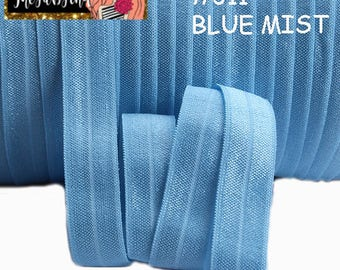 "5/8"" inch Blue Mist #311 FOE Fold Over Elastic - Solid Color - By the Yard- Shiny DIY For Headband"