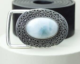 Sophisticated Glamour! AAA Grade GENUINE LARIMAR Vintage Filigree Antique 925 Fine S0LID Sterling Silver + Copper Belt Buckle T128