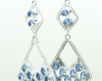 Swiss Blue Topaz 925 SOLID (Nickel Free) Sterling Silver Italian Made Dangle Earrings e691
