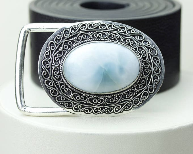 Featured listing image: Sophisticated Glamour! AAA Grade GENUINE LARIMAR Vintage Filigree Antique 925 Fine S0LID Sterling Silver + Copper Belt Buckle T128