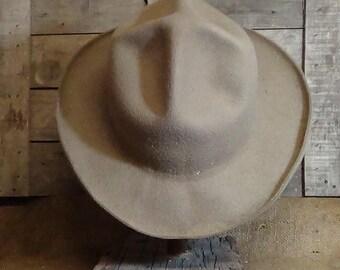 Mon Grizz, short brimmed, Montana Peak, historic cowboy hat, Lil Grizz, custom fit, hand blocked, hand shaped, fur felt, beaver fur historic