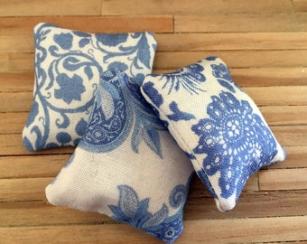 Dollhouse Miniature Blue and White Pillows