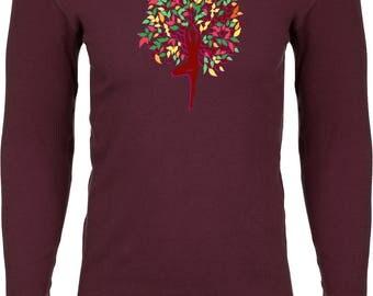 Yoga Clothing For You Mens Foliage Tree Pose Thermal Shirt = N8201-FOLIAGE