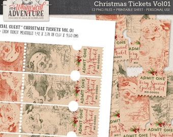 Christmas digital scrapbooking, digital download, printable collage sheet, admit one special guest party tickets, gift tags, vintage Santa