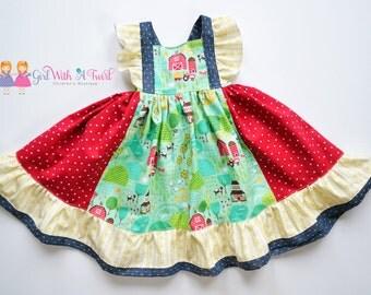 Toddler Girls Dress, Baby Girl Dress, Farm Girl Dress, Spring Dress, Twirl Dress, Girls Ruffle Dress, Gifts For Girls, Toddler Gift