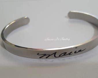 Actual Handwritten Cuff Bangle, Handwriting Jewelry, Engraved Handwriting, Personalized Gift, Signature Jewelry, Handwritten Engraving