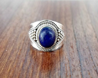 Lapis Ring - Boho Ring- Lapis Lazuli Ring - Blue Stone Ring -Sterling Silver Ring - Lapis Jewelry - Gypsy Ring - Statement Ring