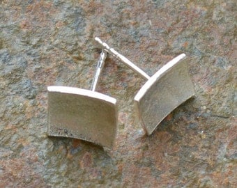 sterling silver studs | square studs | reticulated sterling silver studs | recycled silver studs | textured silver studs | handmade earrings