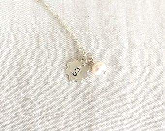 Personalized Flower Girl Necklace, Initial Necklace, Freshwater Pearl, Little Girl Necklace, Sterling Silver, Bridesmaid, Wedding Gift
