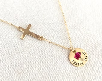 Gold Filled Bible Verse Necklace, Sideway Cross, Baptism Necklace, Confirmation Necklace, Little Girl, Hand Stamped, Christening Gift