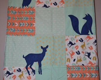 Woodland Creatures Baby Blanket / Owl / Fox / Deer /  Receiving Blanket