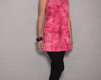Pink dress, casual dresses, sleeveless dress, tunic dress,  tunic tops, womens dresses, day dress, designer dress, gift for her