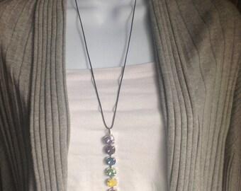 Chakra/PRIDE Pendant Necklace w/Swarovski Crystals with Healing Reiki Intention