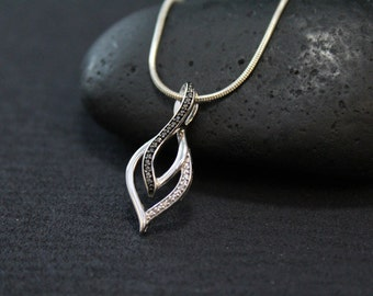 Sterling Silver Black and white Modernist Diamond Necklace