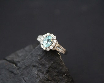 Sterling Silver CZ and Blue Gemstone Halo Ring