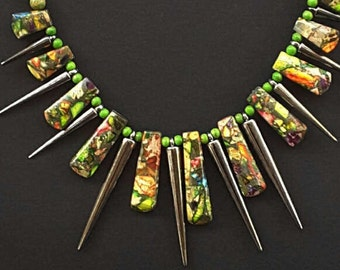 Green Jasper Spiked Bib Necklace Choker, Gemstone Jewelry, Green Jewelry, Bib Jewelry, Australian Made, Statement Necklace, Chakra Necklace