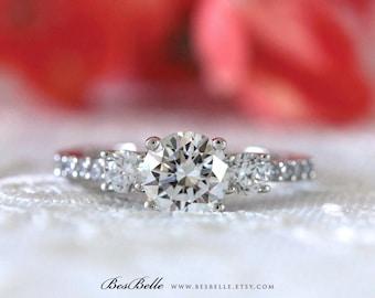 1.33 ct.tw Three-Stone Engagement Ring-Brilliant Cut Diamond Simulant-Bridal Ring-Wedding Ring-Anniversary Ring-Sterling Silver [0219]