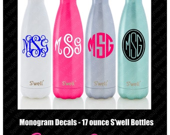 Monogram S'well Decal 17 oz, Swell Water Bottle Monogram, Monogram Decal, Decal Only, Sweet 16, Wedding, Sports Team, Gym, Yoga