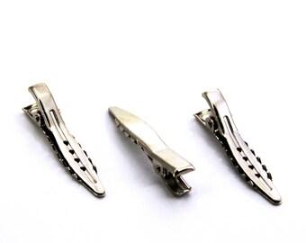 12 pcs 8x37 mm, Brass Alligator Clips, Silver Tone