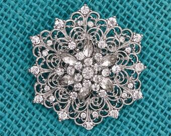 Bridal Silver Brooch Wedding Brooch Vintage Bridal Brooch Sash Ring Pillow Cake Decor DIY Crafts Supplies