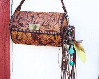 Fringe & Leather Purse Charm - Suede Fringe Key Chain - Zipper Pull Boho Cowgirl - Turquoise - Brown - Texas - Tooled Leather Key Chain