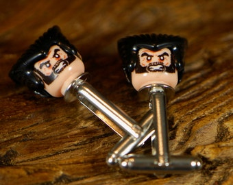 Handmade Cufflinks - Superhero Cuff Links - Wolverine Cufflinks - Comic Book Cufflinks - Handmade Gift For Weddings