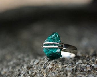One of a Kind Raw Dioptase Ring Wrapped in Sterling Silver with a Sterling Silver Band SIZE 0 OR 7