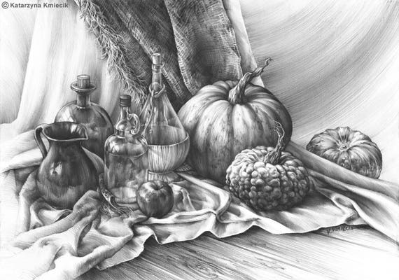 Realistic still life drawing original pencil drawing - Dessin nature morte ...