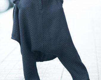 Wool Black Harem Pants, Autumn Loose Casual  Drop Crotch Pants, Warm Extravagant  Pants by EUG FASHION - PA0753WL