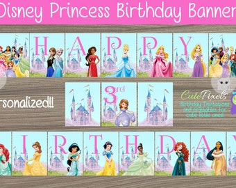Disney Princess Birthday Banner, Princess Birthday, Disney Princess Party, Princess, Disney Princess, Bunting Banner