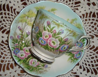 """Royal Albert """"Fringed Gentian"""" - Vintage Tea Cup and Saucer - Red, Gray, Blue Flowers In Woods, Scalloped"""