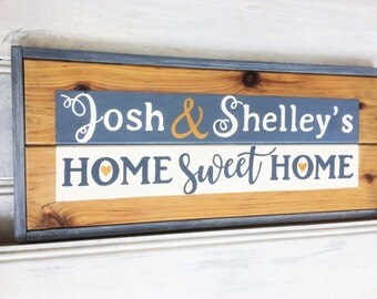 """Custom made """"Home sweet home"""" framed sign - Housewarming, Engagement, Wedding gift - Hand painted cypress pine wood - Wall sign - Wall decor"""