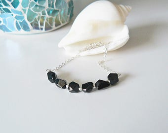 Black spinel necklace, fine silver necklace with faceted gemstones necklace silver black spinel necklace, layer necklace-silver